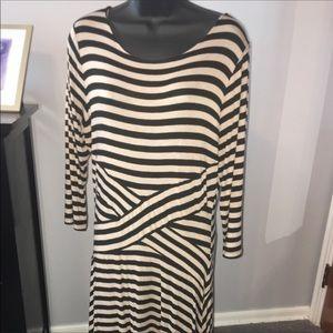 ECI Tan and Brown Striped Dress, Size Large